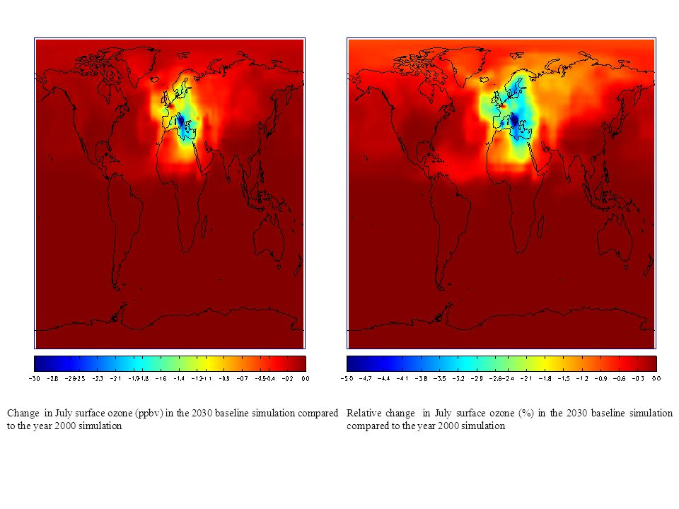 Relative change in July surface ozone (%) in the 2030 baseline simulation compared to the year 2000 simulation Change in July surface ozone (ppbv) in the 2030 baseline simulation compared to the year 2000 simulation