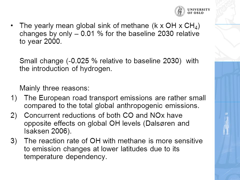 The yearly mean global sink of methane (k x OH x CH 4 ) changes by only – 0.01 % for the baseline 2030 relative to year 2000.