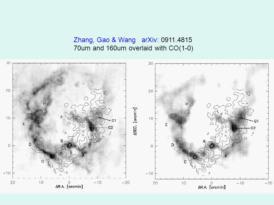 Zhang, Gao & Wang arXiv: 0911.4815 70um and 160um overlaid with CO(1-0)