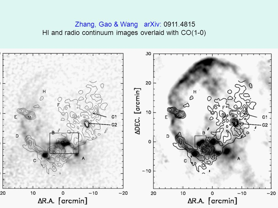 Zhang, Gao & Wang arXiv: 0911.4815 HI and radio continuum images overlaid with CO(1-0)