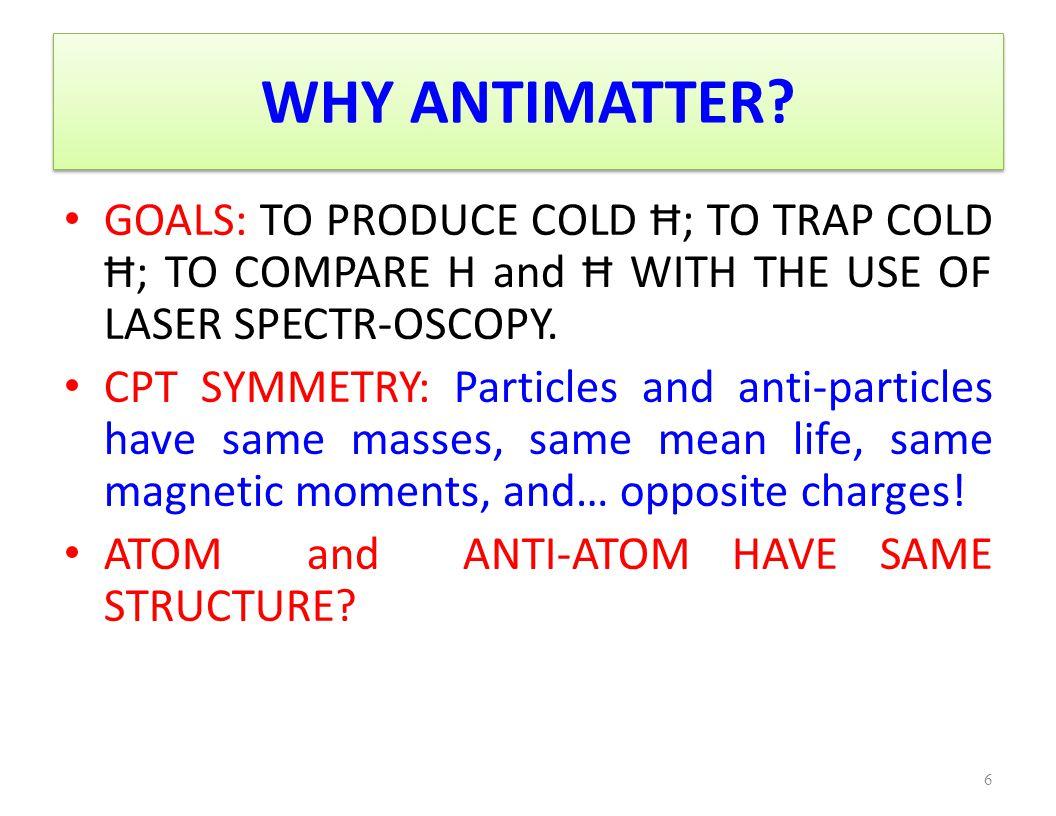 WHY ANTIHYDROGEN: Ħ .