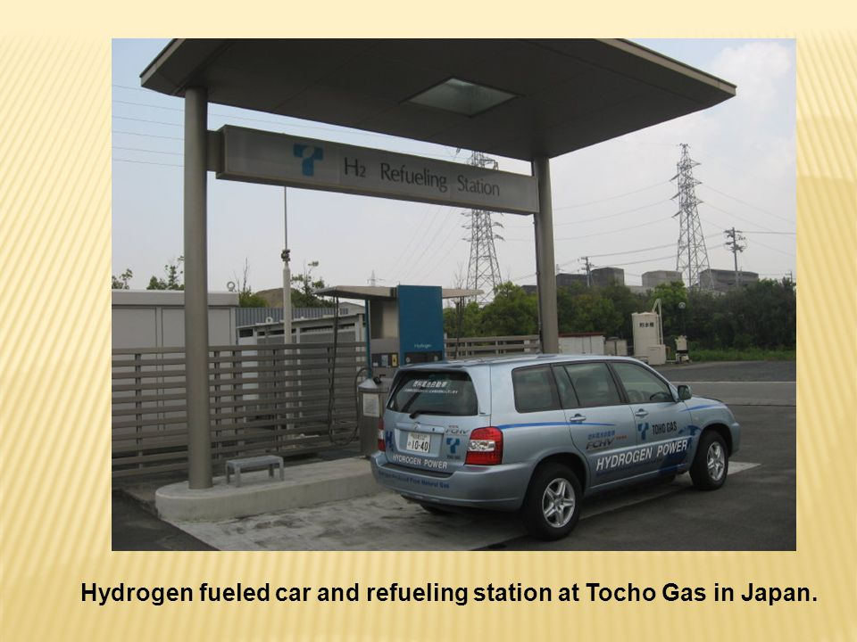 Hydrogen fueled car and refueling station at Tocho Gas in Japan.