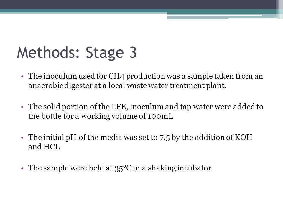 Methods: Stage 3 The inoculum used for CH4 production was a sample taken from an anaerobic digester at a local waste water treatment plant. The solid