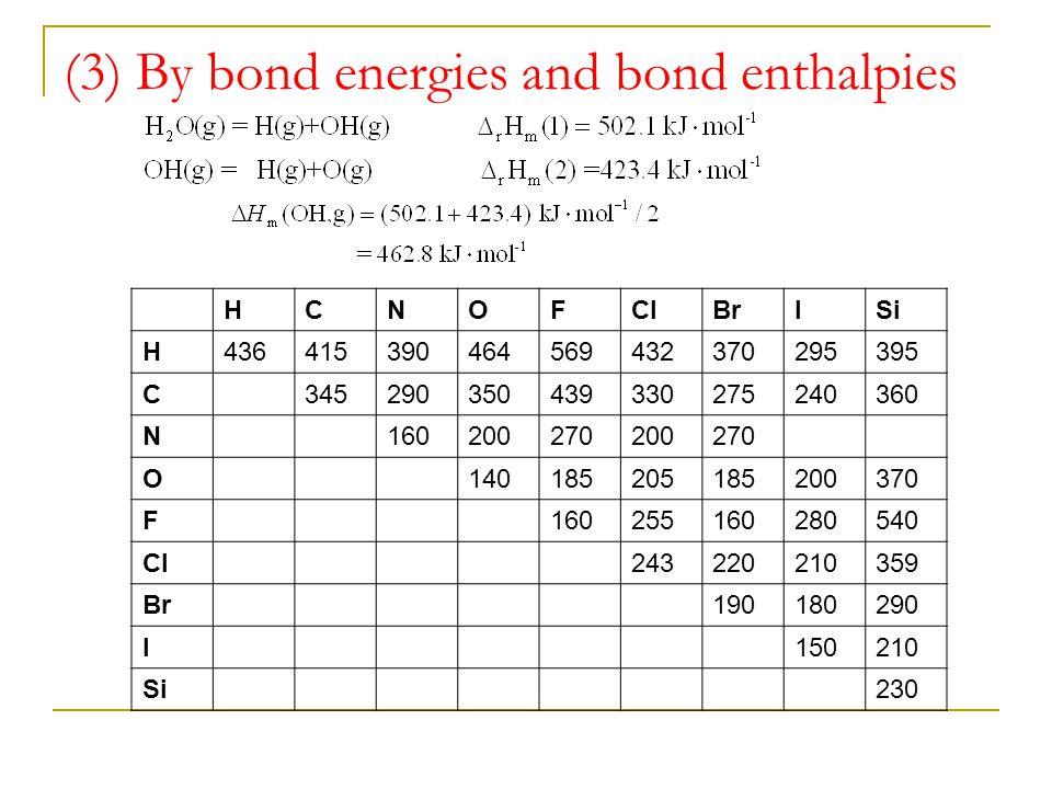 (3) By bond energies and bond enthalpies HCNOFClBrISi H436415390464569432370295395 C345290350439330275240360 N160200270200270 O140185205185200370 F160