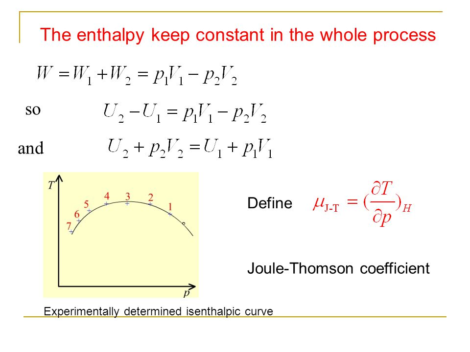 The enthalpy keep constant in the whole process so and Define Joule-Thomson coefficient Experimentally determined isenthalpic curve