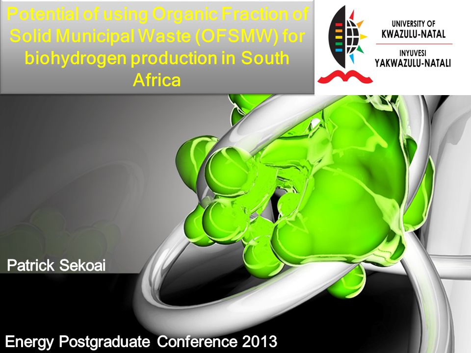 Potential of using Organic Fraction of Solid Municipal Waste (OFSMW) for biohydrogen production in South Africa