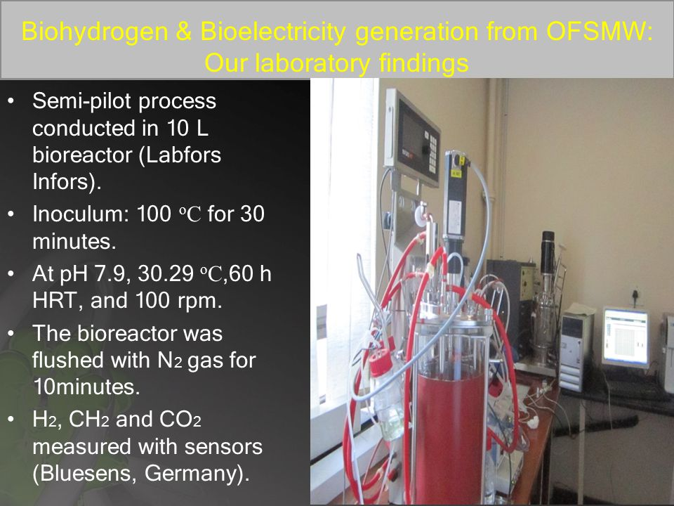 Biohydrogen & Bioelectricity generation from OFSMW: Our laboratory findings Semi-pilot process conducted in 10 L bioreactor (Labfors Infors).