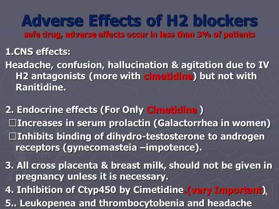Adverse Effects of H2 blockers safe drug, adverse effects occur in less than 3% of patients 1.CNS effects: Headache, confusion, hallucination & agitat