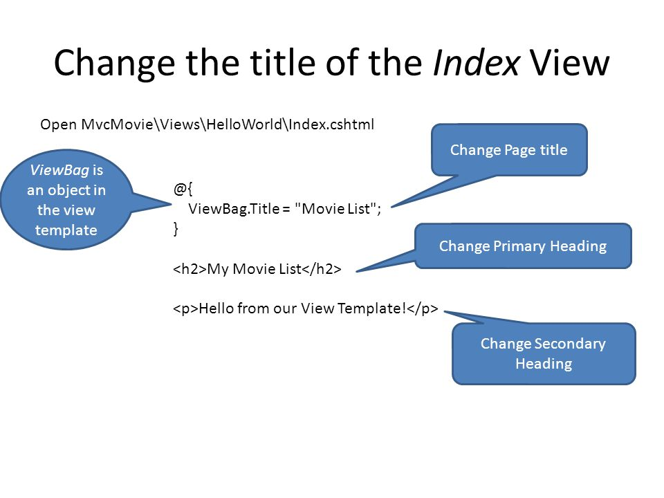 Change the title of the Index View @{ ViewBag.Title = Movie List ; } My Movie List Hello from our View Template.