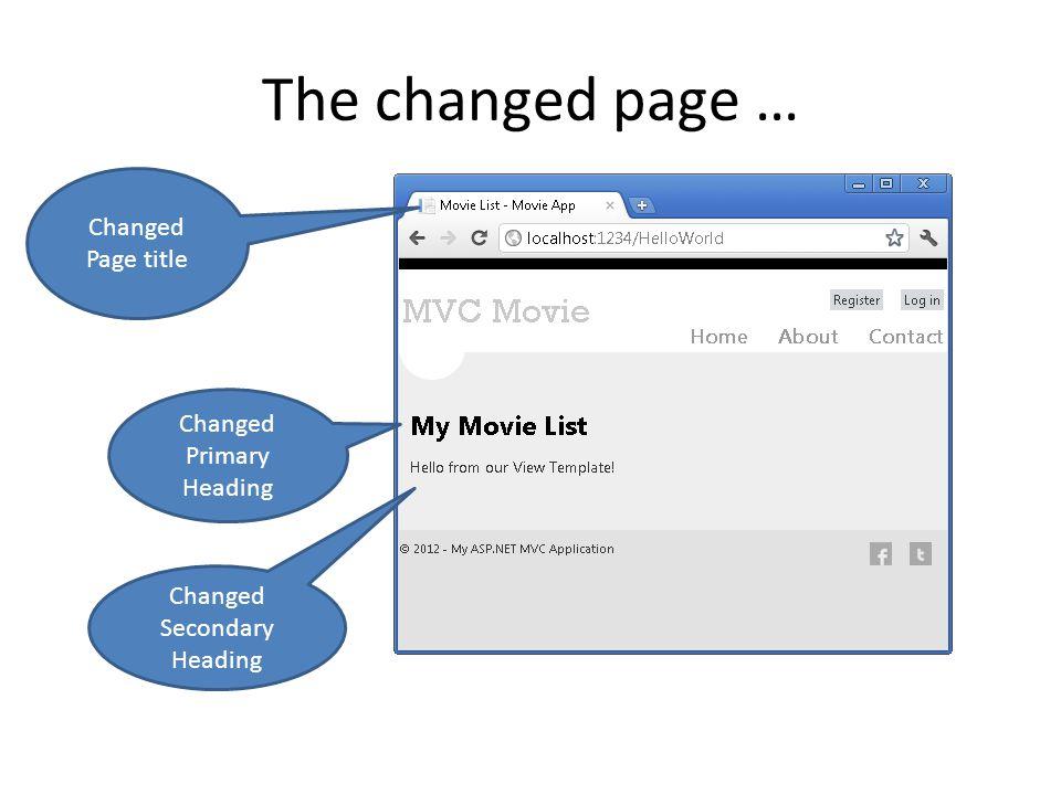The changed page … Changed Page title Changed Primary Heading Changed Secondary Heading
