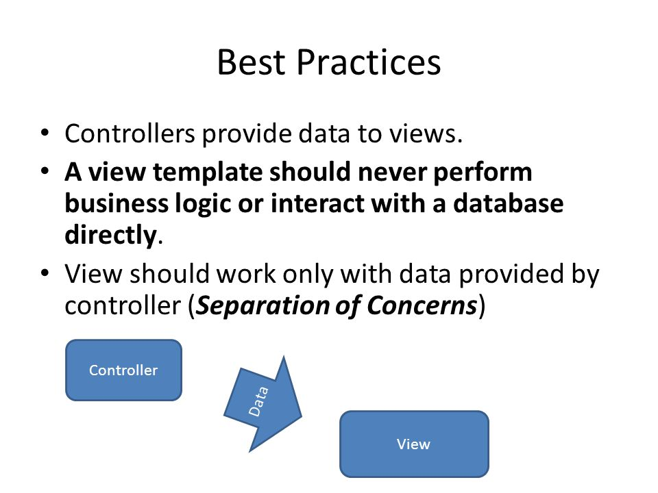 Best Practices Controllers provide data to views.