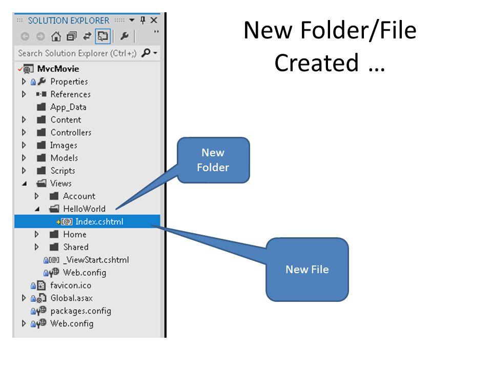 New Folder/File Created … New Folder New File