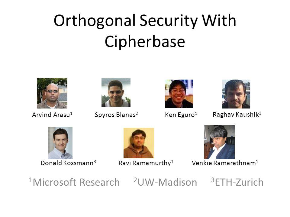 Orthogonal Security With Cipherbase 1 Microsoft Research 2 UW-Madison 3 ETH-Zurich Arvind Arasu 1 Spyros Blanas 2 Ken Eguro 1 Donald Kossmann 3 Ravi Ramamurthy 1 Venkie Ramarathnam 1 Raghav Kaushik 1