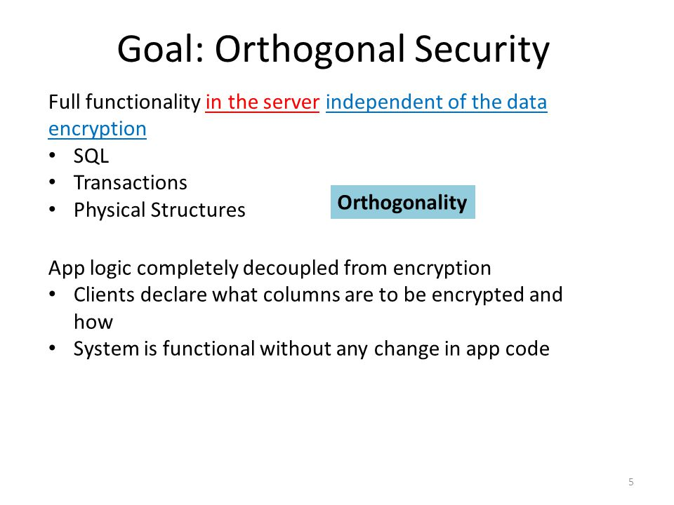 Goal: Orthogonal Security 5 Full functionality in the server independent of the data encryption SQL Transactions Physical Structures App logic completely decoupled from encryption Clients declare what columns are to be encrypted and how System is functional without any change in app code Orthogonality