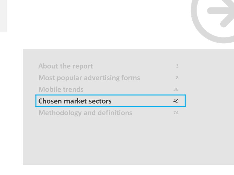 48 gemiusAdMonitor // Desktop/mobile share of ad impressions by quarters – Ukraine Source: gemiusDirectEffect 2012