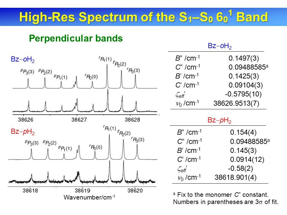 Bz ‒ oH 2 Perpendicular bands B /cm -1 C /cm -1 B' /cm -1 C' /cm -1  eff ' 0 /cm -1 0.1497(3) 0.09488585 a 0.1425(3) 0.09104(3) -0.5795(10) 38626.9513(7) B /cm -1 C /cm -1 B' /cm -1 C' /cm -1  eff ' 0 /cm -1 0.154(4) 0.09488585 a 0.145(3) 0.0914(12) -0.58(2) 38618.901(4) Bz ‒ pH 2 a Fix to the monomer C constant.