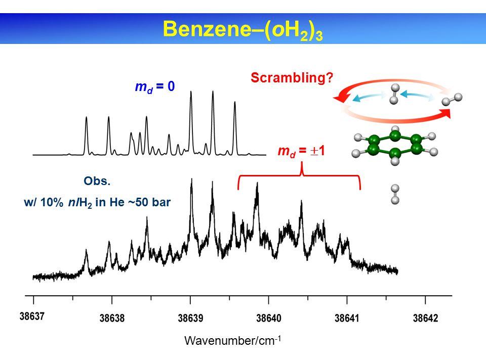 Benzene–(oH 2 ) 3 Obs. w/ 10% nlH 2 in He ~50 bar m d = 0 Scrambling m d =  1 Wavenumber/cm -1