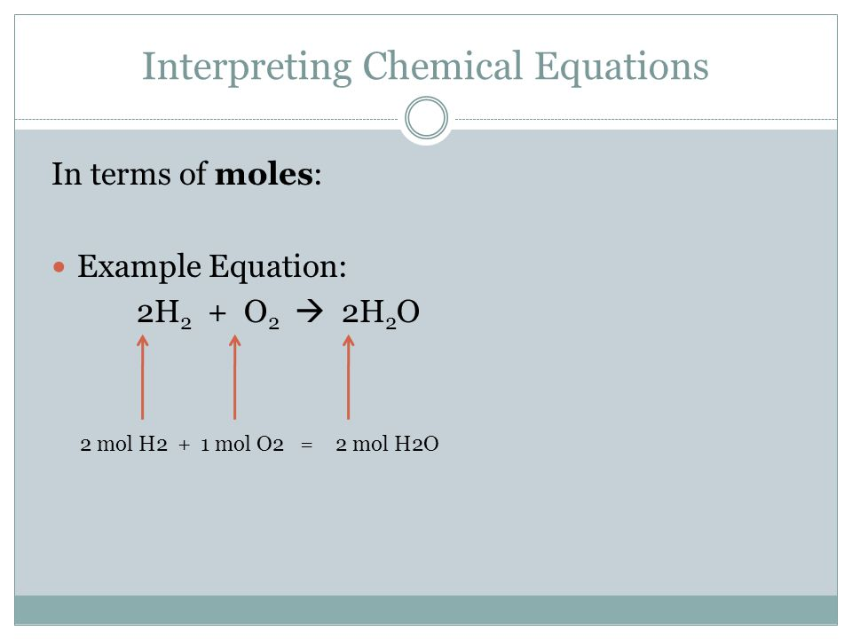Interpreting Chemical Equations In terms of particles:  You know that Avogradro's Number relates particles and moles (6.02 x 10 23 particles = 1 mole) Example Equation: 2H 2 + O 2  2H 2 O 2 mol H2 x 6.02 x 10 23 particles + 1 mol 1 mol O2 x 6.02 x 10 23 particles = 1 mol 2 mol H2 x 6.02 x 10 23 particles 1 mol 1.204 x 10 24 particles of H2 +6.02 x 10 23 particles of O2 =1.204 x 10 24 particles of H2O