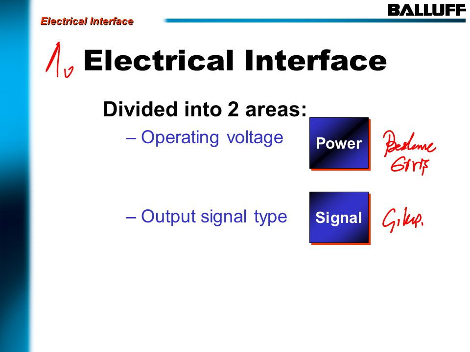 Electrical Interface Divided into 2 areas: –Operating voltage –Output signal type Electrical Interface Power Signal