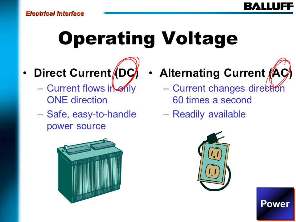 Operating Voltage Direct Current (DC) –Current flows in only ONE direction –Safe, easy-to-handle power source Alternating Current (AC) –Current changes direction 60 times a second –Readily available Electrical Interface Power