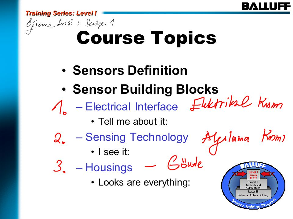 Course Topics Sensors Definition Sensor Building Blocks –Electrical Interface Tell me about it: –Sensing Technology I see it: –Housings Looks are everything: Training Series: Level I