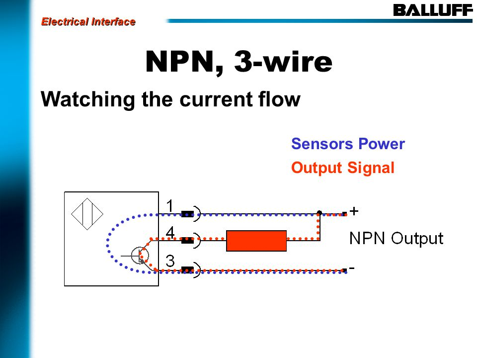 NPN, 3-wire Watching the current flow Sensors Power Output Signal Electrical Interface