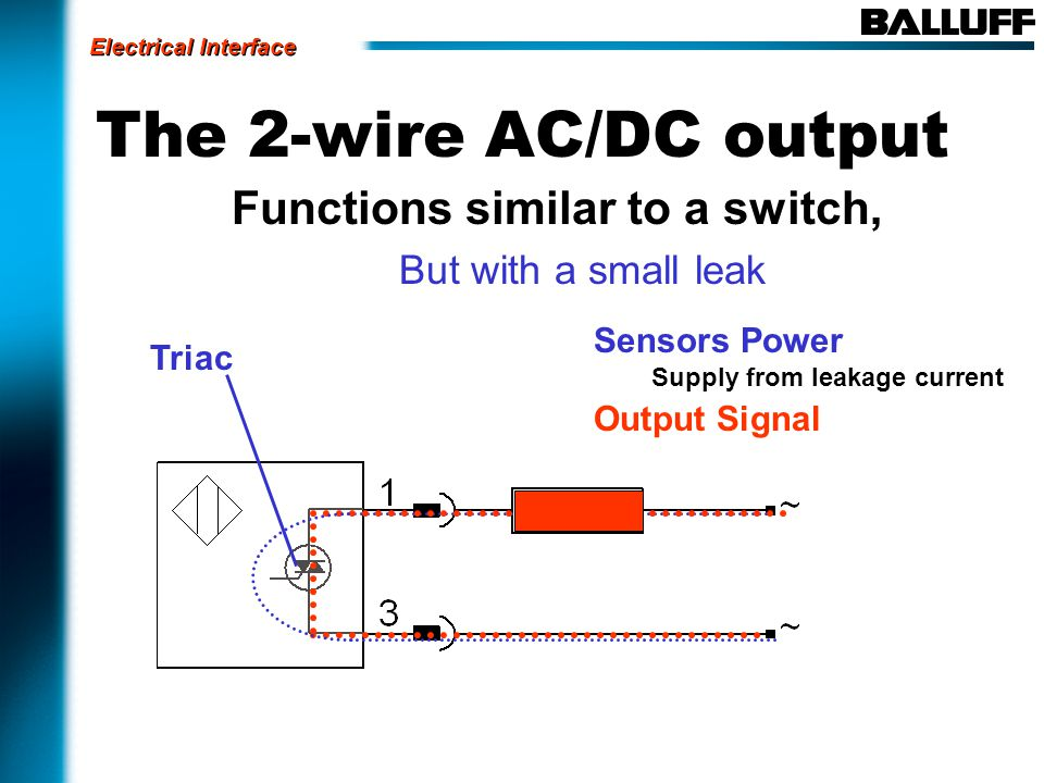 The 2-wire AC/DC output Functions similar to a switch, But with a small leak Sensors Power Supply from leakage current Output Signal Triac Electrical Interface