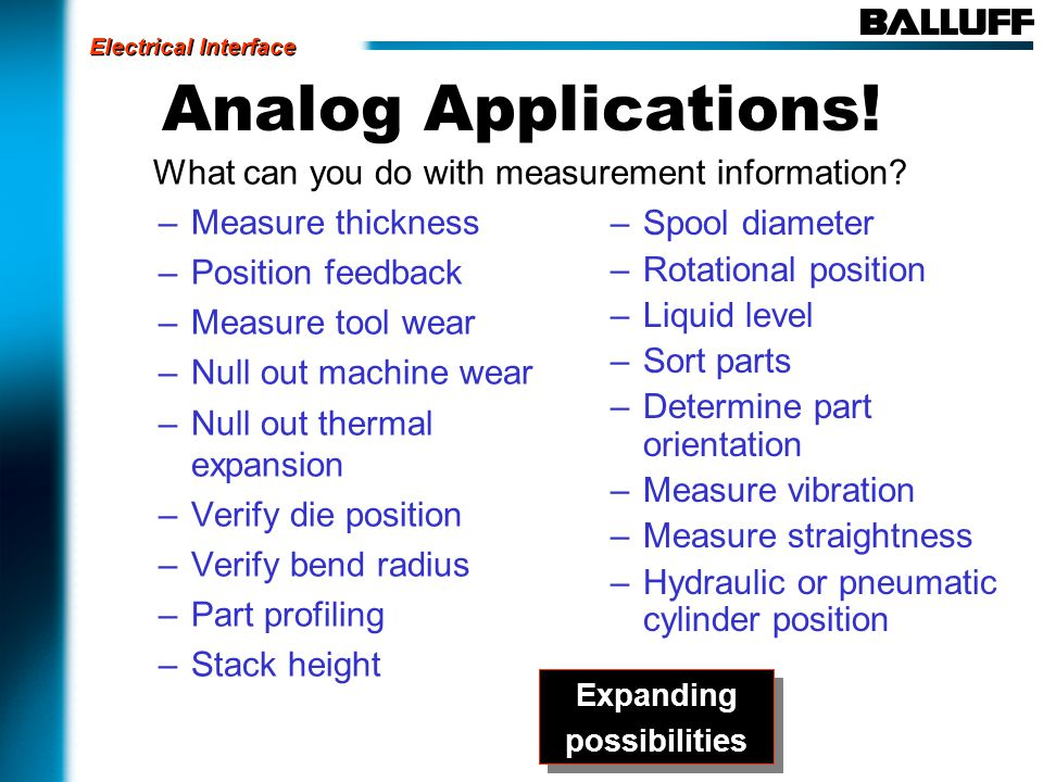 Analog Applications. What can you do with measurement information.