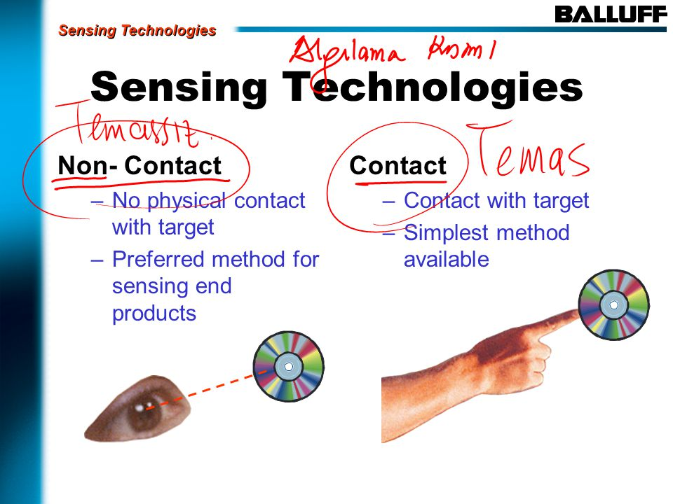 Non- Contact –No physical contact with target –Preferred method for sensing end products Contact –Contact with target –Simplest method available Sensing Technologies