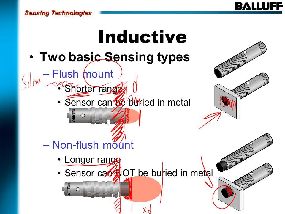 Two basic Sensing types –Flush mount Shorter range Sensor can be buried in metal –Non-flush mount Longer range Sensor can NOT be buried in metal Induc