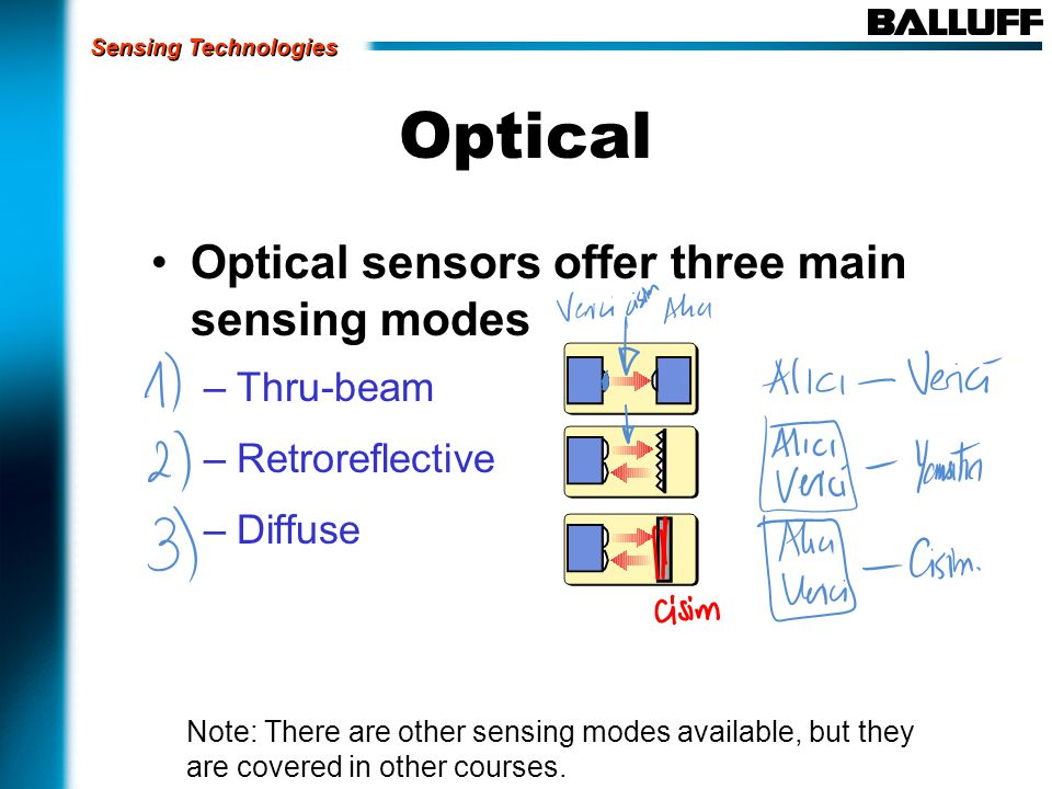 Optical Optical sensors offer three main sensing modes –Thru-beam –Retroreflective –Diffuse Note: There are other sensing modes available, but they are covered in other courses.