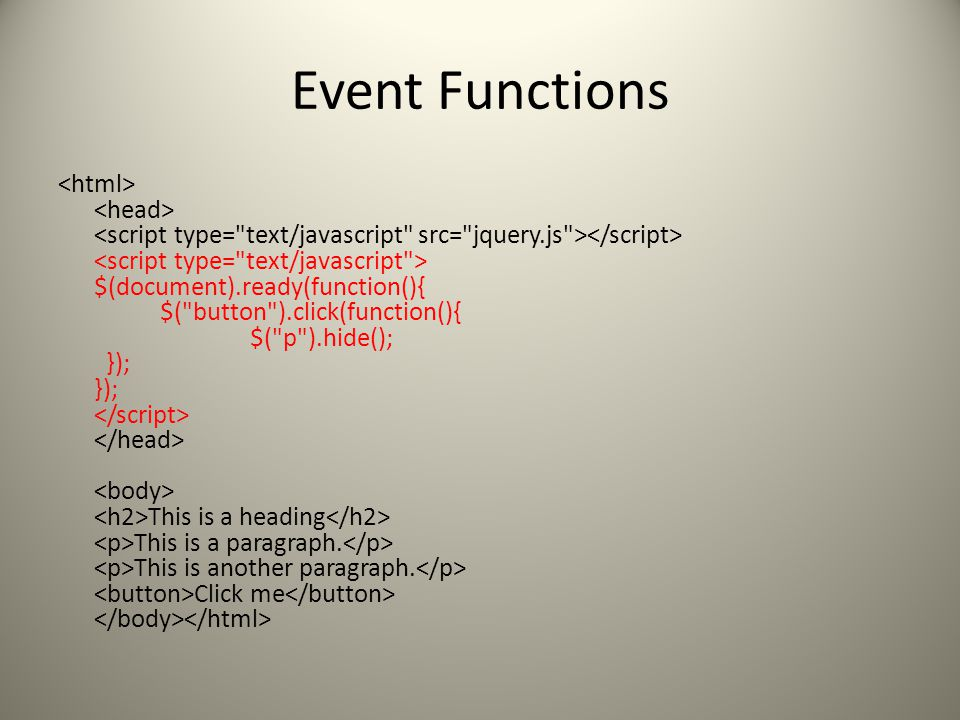 Event Functions $(document).ready(function(){ $( button ).click(function(){ $( p ).hide(); }); }); This is a heading This is a paragraph.