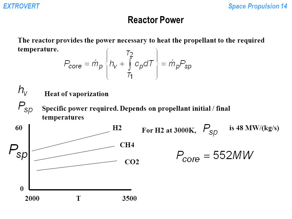 EXTROVERTSpace Propulsion 14 Reactor Power The reactor provides the power necessary to heat the propellant to the required temperature. Heat of vapori