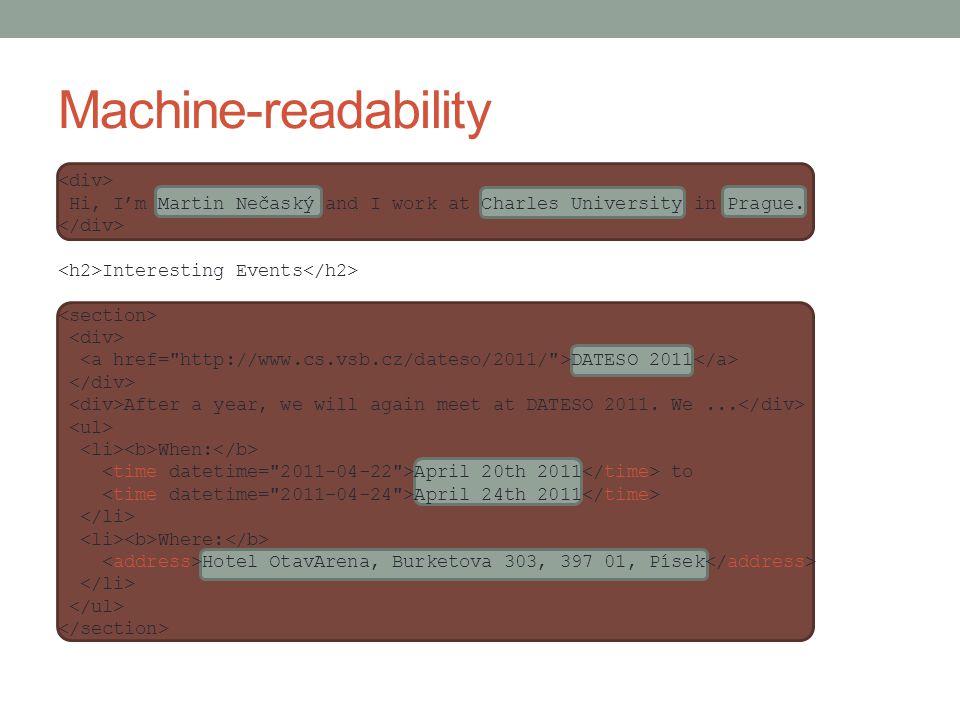 Machine-readability Hi, I'm Martin Nečaský and I work at Charles University in Prague.