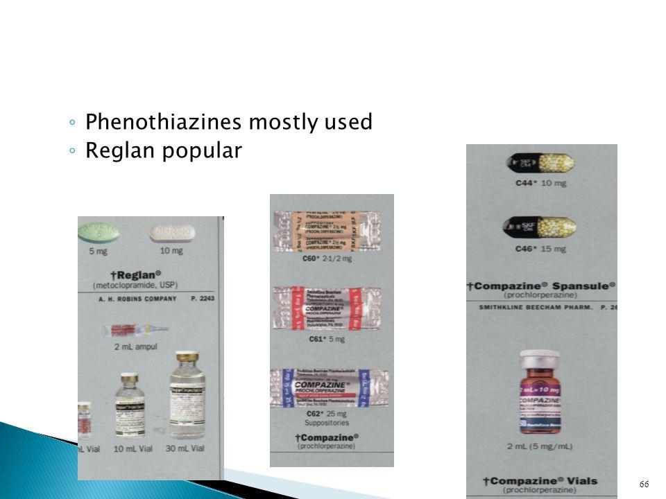 ◦ Phenothiazines mostly used ◦ Reglan popular 66