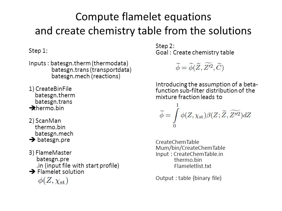 Compute flamelet equations and create chemistry table from the solutions Step 1: Inputs : batesgn.therm (thermodata) batesgn.trans (transportdata) bat