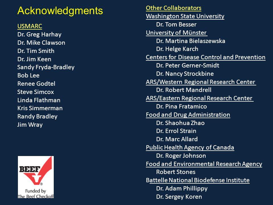 Acknowledgments USMARC Dr. Greg Harhay Dr. Mike Clawson Dr. Tim Smith Dr. Jim Keen Sandy Fryda-Bradley Bob Lee Renee Godtel Steve Simcox Linda Flathma