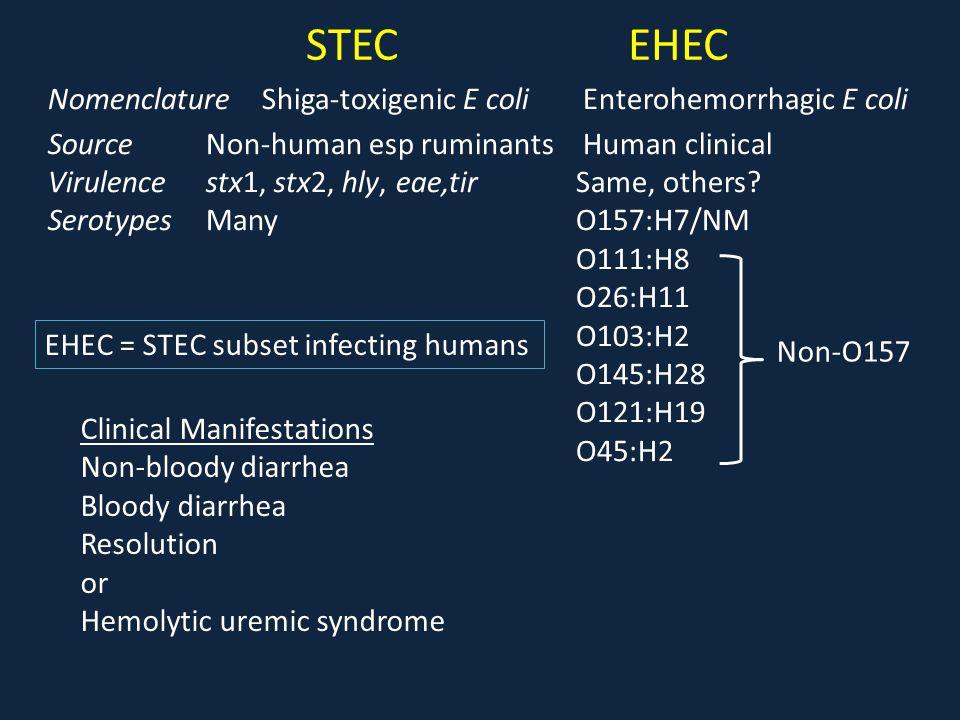 STECEHEC Nomenclature Shiga-toxigenic E coli Enterohemorrhagic E coli Source Non-human esp ruminants Human clinical Virulence stx1, stx2, hly, eae,tir