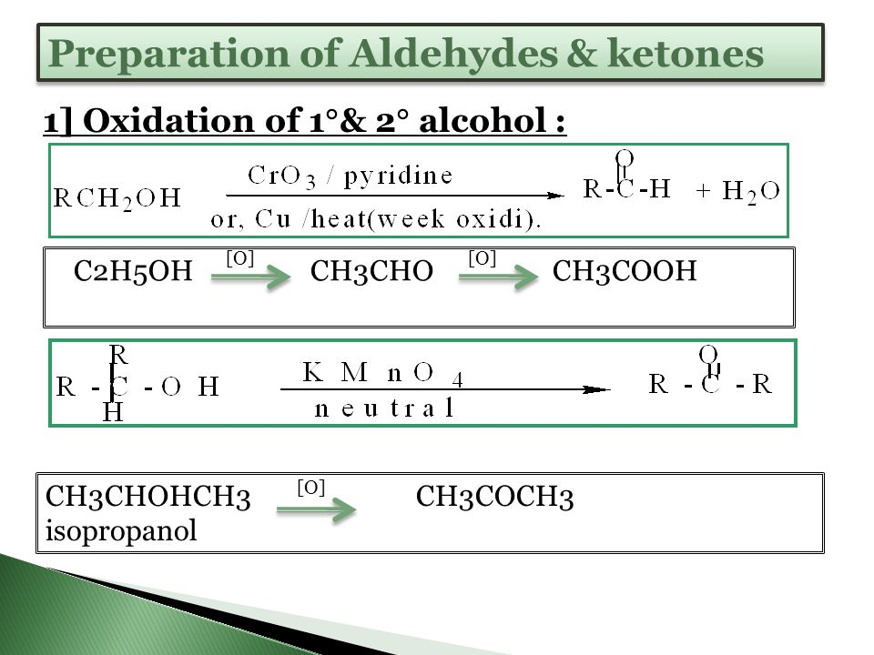 39  Carboxylic acids can be prepared by oxidizing primary alcohols or aldehydes.