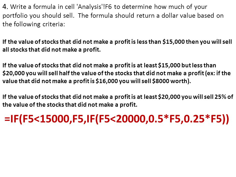 4.Write a formula in cell Analysis !F6 to determine how much of your portfolio you should sell.
