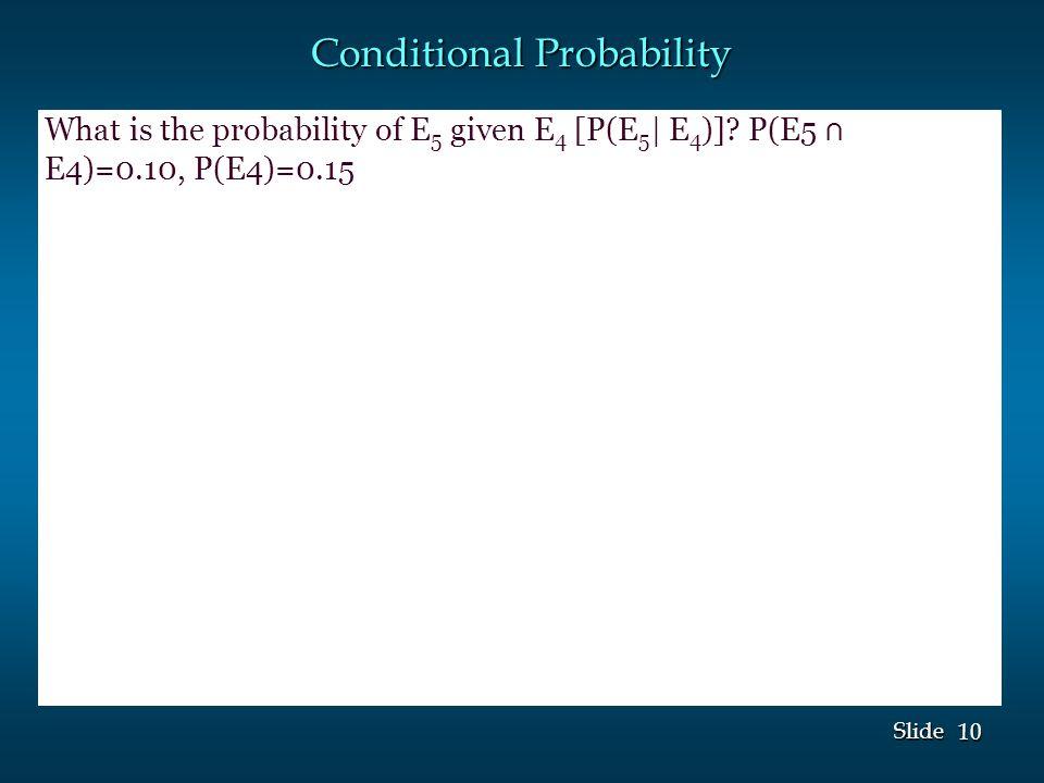 10 Slide Conditional Probability What is the probability of E 5 given E 4 [P(E 5 | E 4 )].