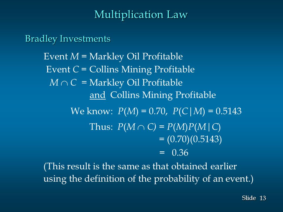 13 Slide Event M = Markley Oil Profitable Event C = Collins Mining Profitable We know: P ( M ) = 0.70, P ( C | M ) = 0.5143 Multiplication Law M  C = Markley Oil Profitable and Collins Mining Profitable Thus: P ( M  C) = P ( M ) P ( M|C ) = (0.70)(0.5143) = 0.36 (This result is the same as that obtained earlier using the definition of the probability of an event.) Bradley Investments