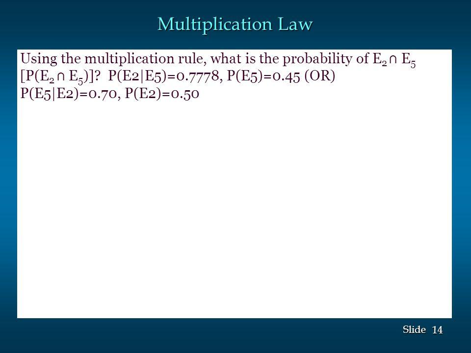 14 Slide Multiplication Law Using the multiplication rule, what is the probability of E 2 ⋂ E 5 [P(E 2 ⋂ E 5 )].