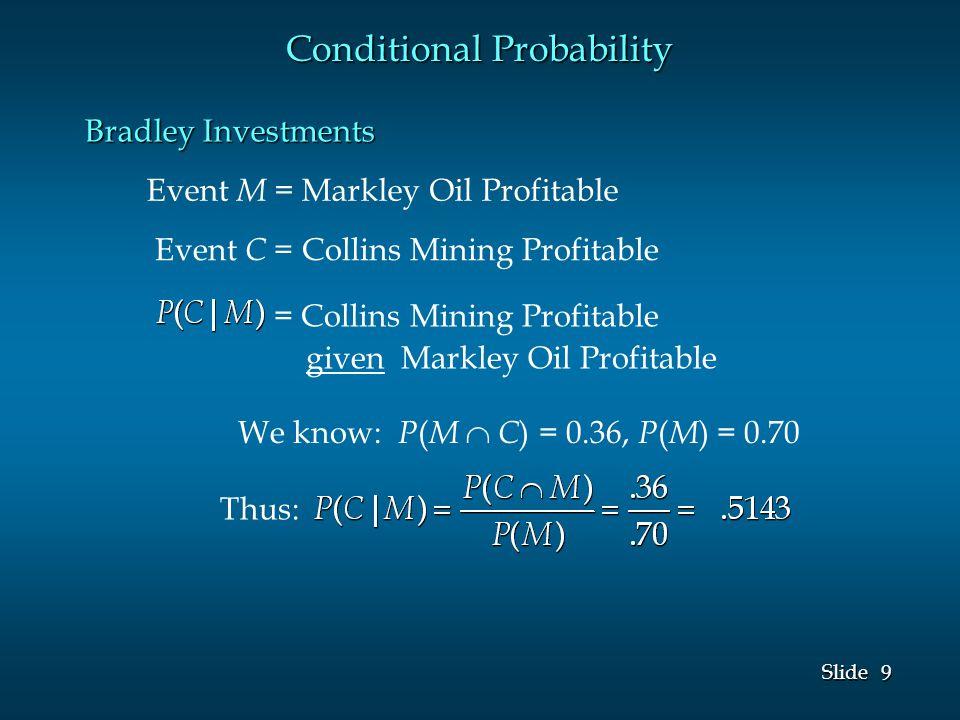 9 9 Slide Event M = Markley Oil Profitable Event C = Collins Mining Profitable We know: P ( M  C ) = 0.36, P ( M ) = 0.70 Conditional Probability Thus: = Collins Mining Profitable given Markley Oil Profitable Bradley Investments