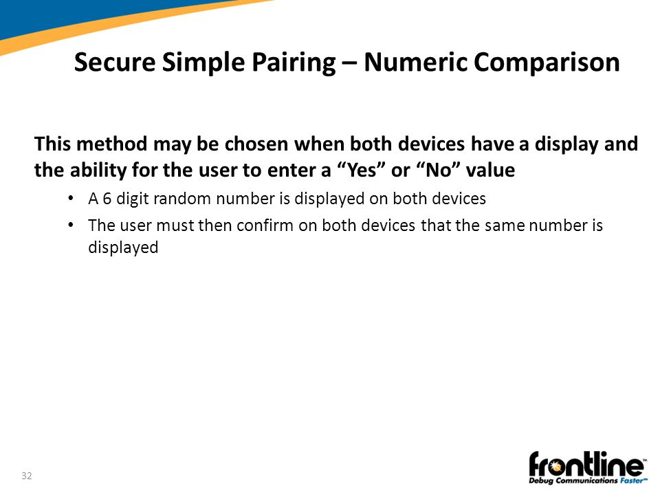 """32 Secure Simple Pairing – Numeric Comparison This method may be chosen when both devices have a display and the ability for the user to enter a """"Yes"""""""