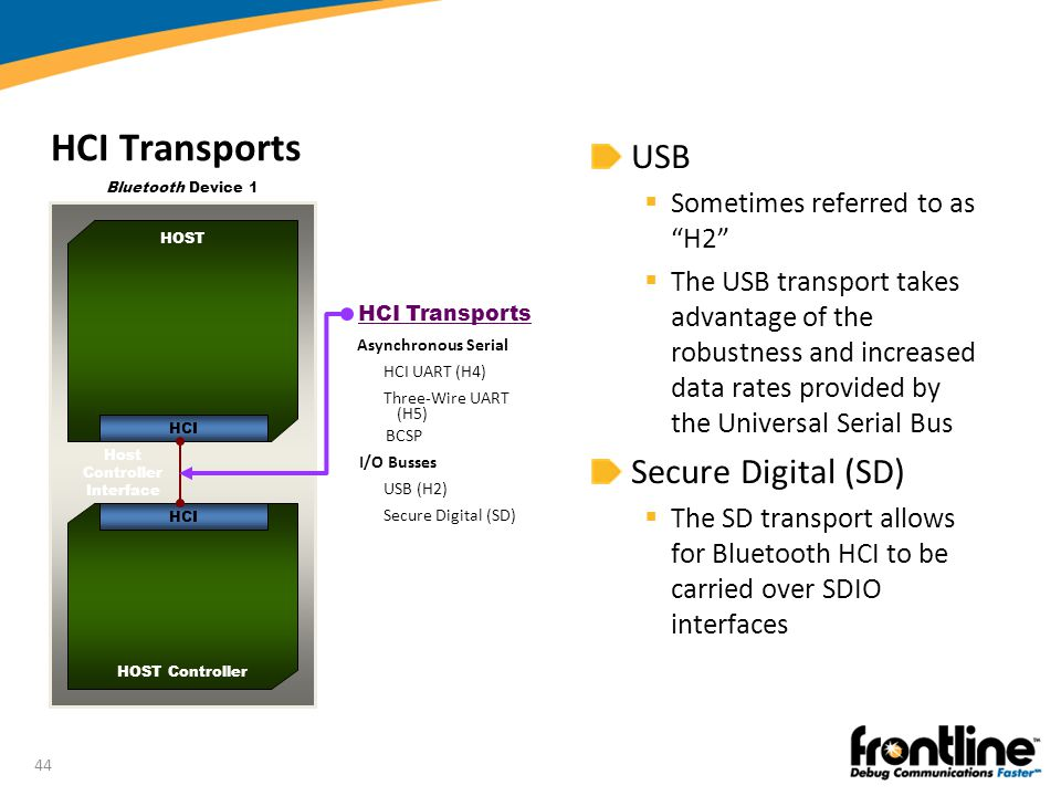 """44 HCI Transports USB  Sometimes referred to as """"H2""""  The USB transport takes advantage of the robustness and increased data rates provided by the U"""