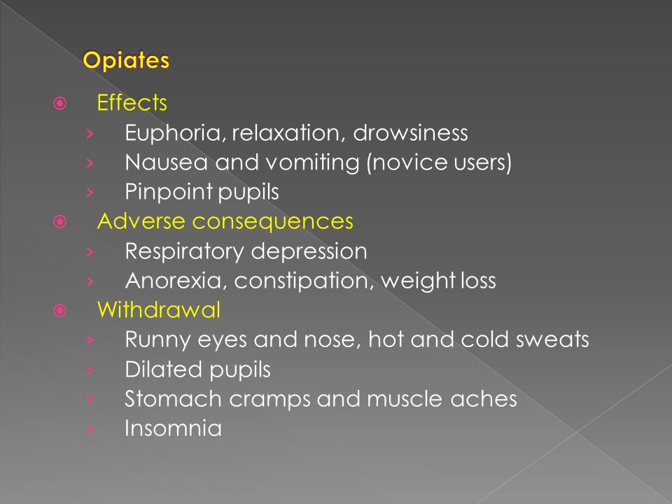  Effects › Euphoria › Overactivity, talkativeness, energy, confidence › Empathy › Perceptual awareness, illusions (dance drugs)  Adverse consequences › Hypertension › Dehydration (dance drugs) › Blood clotting  Withdrawal symptoms › Dysphoria with insomnia and nightmares › Fatigue and prolonged sleep episodes