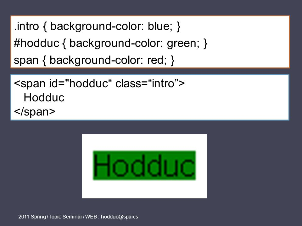 .intro { background-color: blue; } #hodduc { background-color: green; } span { background-color: red; } Hodduc