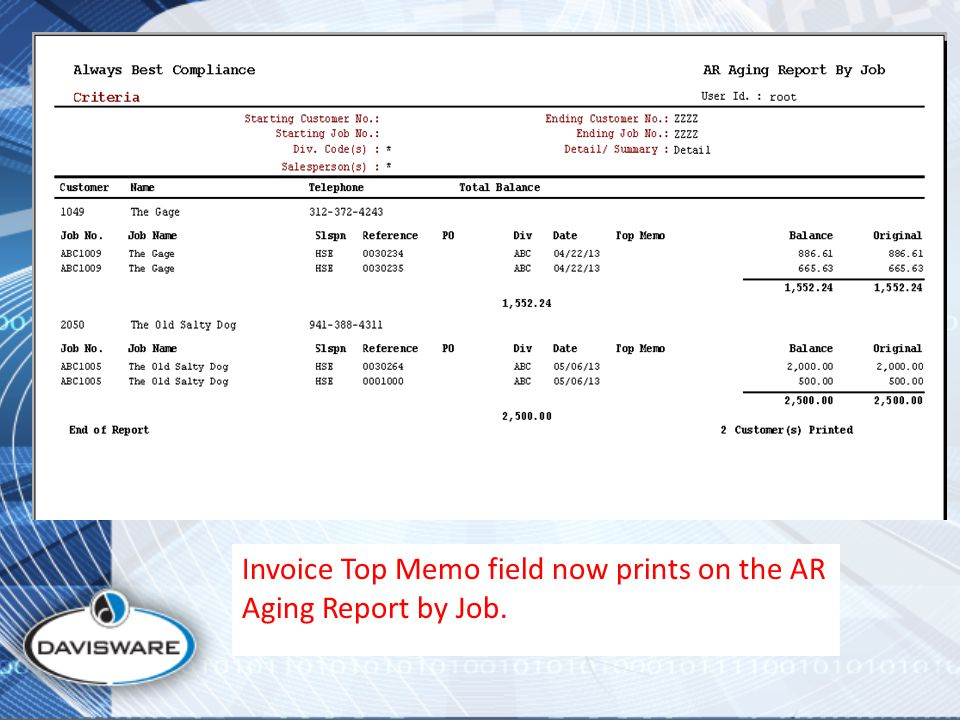 Invoice Top Memo field now prints on the AR Aging Report by Job.