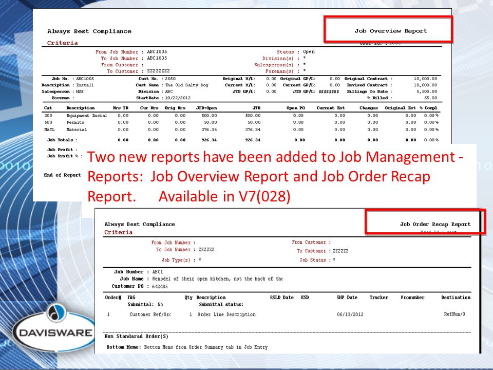 Two new reports have been added to Job Management - Reports: Job Overview Report and Job Order Recap Report.